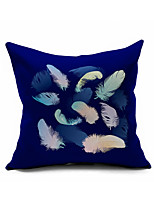 Navy Blue Peacock Feather Cotton/Linen Pillow Cover , Nature Modern/Contemporary  Pillow Linen Cushion