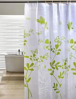 200 * 180 Butterfly Leaves Green PEVA Shower Curtain