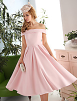 Cocktail Party Dress-Candy Pink A-line Off-the-shoulder Tea-length Satin / Polyester
