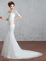 Trumpet/Mermaid Wedding Dress-White Court Train V-neck Lace / Tulle