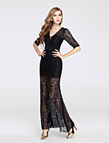 Formal Evening Dress-Black Trumpet/Mermaid V-neck Ankle-length Lace / Tulle