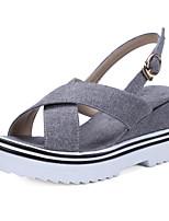 Chaussures Femme-Extérieure / Habillé / Décontracté-Noir / Gris-Talon Compensé-Compensées / Bout Ouvert / A Plateau / Creepers / A Bride