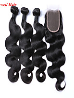 Mekywell 3Pcs Hair Weft and Free Hair Closure Brazilian Virign In Body Wave Hair Weaves