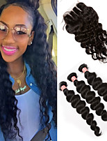 Brazilian Loose Wave With Closure 6A Grade 3 Bundles With Closure Brazilian Virgin Hair Weave Bundles With Lace Closure