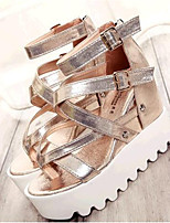Women's Shoes Leatherette Wedge Heel Wedges Sandals Outdoor / Casual Black / Silver / Gold