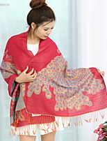 National Wind Fringed Scarves Female Jacquard Embroidery Peacock Printing Autumn And Winter Shawl