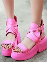 Women's Shoes Leatherette Platform Comfort / Novelty Sandals Dress / Casual Black / White
