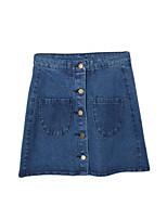De las mujeres Faldas-Mini Casual Microelástico-Nailon