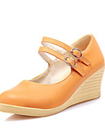 Women's Shoes Leatherette Wedge Heel Wedges Heels Office & Career / Dress / Casual Blue / Yellow / Green / Pink