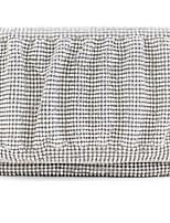 Women Satin Flap Clutch / Evening Bag - Silver