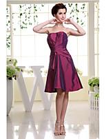 Knee-length Taffeta Bridesmaid Dress-Grape A-line Strapless