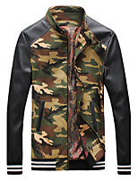 Men's Fashion Camouflage Stand Collar Casual Slim Fit Long Sleeve Jacket