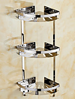 Three-Deck Contemporary Space Aluminum Anodizing Wall Mounted Bathroom Shelf