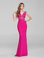 Formal Evening Dress-Fuchsia Trumpet/Mermaid V-neck Sweep/Brush Train Chiffon / Tulle