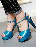 Women's Shoes Chunky Heel Peep Toe / Platform / Open Toe Sandals Party & Evening / Dress / Casual Blue / Green / Purple
