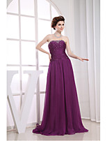 Formal Evening Dress-Grape A-line Strapless Court Train Chiffon