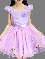 Girl's Pink / Purple / White Dress,Lace Cotton Summer
