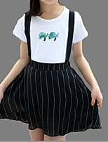 Girl's Black / White Dress,Stripes Cotton Summer