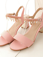 Women's Shoes Chunky Heel Heels / Peep Toe Sandals Casual Pink / Red / White