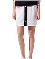 Women's Patchwork White Skirts,Casual / Day Knee-length
