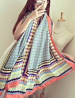 Elegant Blue Floral Printed Cotton Twill Small Square Scarf Shawl Scarves Sunscreen Seach