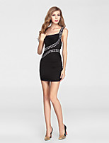 Formal Evening Dress-Black Sheath/Column One Shoulder Short/Mini Charmeuse / Polyester