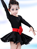 Latin Dance Children's Solid Color Performance Cotton Flowers Dresses Dance Costumes