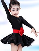 Latin Dance Children's Solid Color Performance Cotton Flowers Dresses Dance Costumes