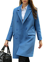 Women's Solid Blue / Pink / Black / Brown Coat,Simple Long Sleeve Polyester