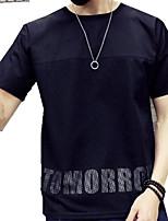 Katoen / Polyester-Letter-Heren-T-shirt-Informeel-Korte mouw