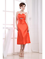 Cocktail Party Dress-Orange Sheath/Column Spaghetti Straps Tea-length Satin