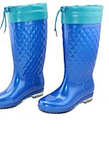 Women's Shoes PVC Low Heel Rain Boots Flats / Boots Outdoor Blue / Khaki
