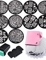 10 Nail Plates +1 Stamper + 1 Scraper + Storage Bag Nail Art Image Stamp Stamping Plates Manicure Template