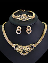 Women's Gold Wedding Party Jewelry include Necklace & Bracelet & Earrings