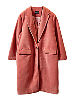 Women's Solid Blue / Pink / White / Brown Coat,Simple Long Sleeve Polyester