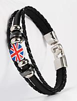 English National Flag Shape PU Men's Bracelet