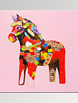 VISUAL STAR®Lucky Horse Painting Digital Canvas Prints Cute Pink Kid Room Decor Art Print Ready to Hang