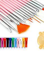 28pcs kit de pintura da arte do prego (15pcs escova vermelha + 12pcs pintar + paleta de cor aleatória 1pc)