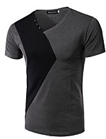 Men's Short Sleeve T-Shirt,Rayon Casual Patchwork
