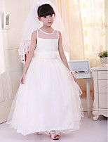 Girl's Cotton Summer Imitation Wedding Bowknot Gauze Shoulder Full Dress