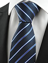 KissTies Men's New Stripe Blue Microfiber Tie Necktie For Busuness Party Holiday With Gift Box