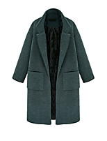Women's Solid Green Pea Coats,Street chic Long Sleeve Wool