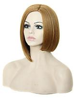 capless blonde kleur gemiddelde lengte hoogwaardige natuurlijke steil haar synthetische pruik met kant bang