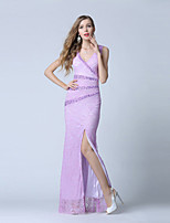 Formal Evening Dress-Lilac Trumpet/Mermaid V-neck Ankle-length Lace / Tulle