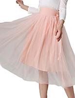 Spring Summer Women's Slim Elastic Pleated Waist Gauze OL Work Casual Holiday Street Style Skirts