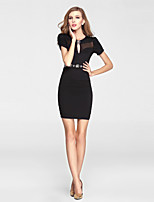 Cocktail Party Dress-Black Sheath/Column V-neck Short/Mini Tulle / Polyester