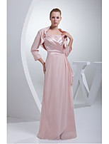 Sheath/Column Mother of the Bride Dress-Blushing Pink Floor-length Chiffon