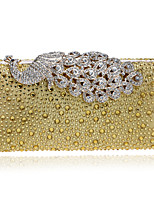 Women Metal Baguette Evening Bag-Blue / Gold / Silver