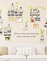 New arrvied hot sell Green leaves bottle photo frame wall sticker decoration living kitchen room vinyl wall stickers