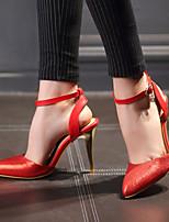 Women's Shoes Heel Heels / Pointed Toe Sandals / Heels Office & Career / Party & Evening / Dress Black / Red / 9722-8